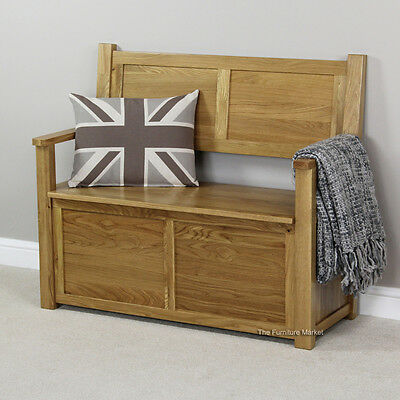 London Solid Oak Monks Bench - Hall Seat Shoe Storage - BRAND NEW! - UK55