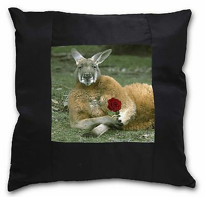 Kangaroo with Red Rose Black Border Satin Feel Cushion Cover With Pil, AK-1R-CSB