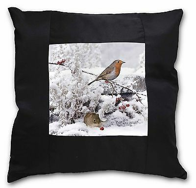 Snow Mouse and Robin Print Black Border Satin Scatter Cushion Christm, AMO-5-CSB