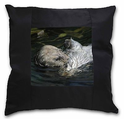 Floating Otter Black Border Satin Feel Cushion Cover With Pillow Inser, AO-3-CSB
