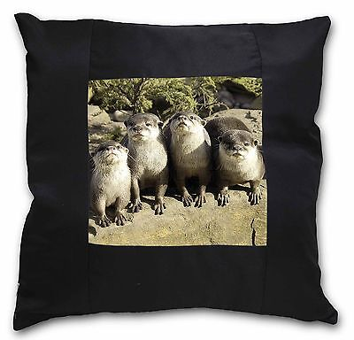 Cute Otters Black Border Satin Scatter Cushion Christmas Gift, AO-6-CSB
