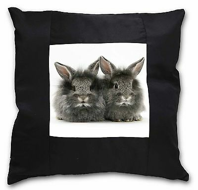 Silver Rabbits Black Border Satin Feel Cushion Cover With Pillow Inser, AR-3-CSB