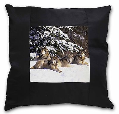 Wolves in Snow Black Border Satin Feel Cushion Cover With Pillow Inser, AW-8-CSB