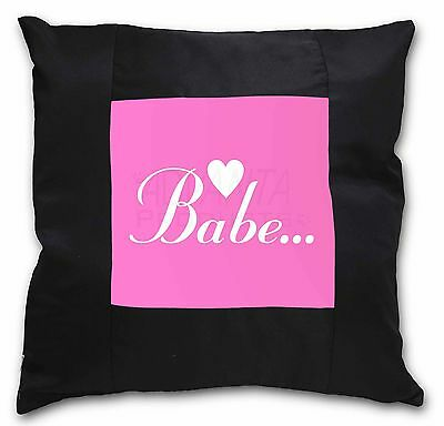 Gorgeous Hot Pink 'Babe' Black Border Satin Feel Cushion Cover With , BABE-1-CSB