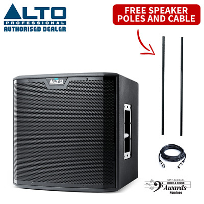 """Alto TS212S 1250W 12"""" Active Powered PA DJ Live Stage Subwoofer & Free Cable"""