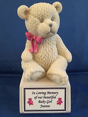 Baby Girl or Baby Boy Memorial Teddy Bear Ornament Plaque Personalised