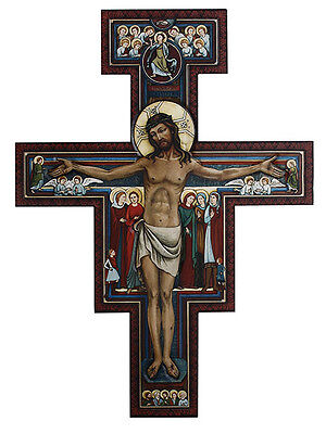 YD353 San Damiano Wall Hanging Crucifix Wood 31 inch Painted