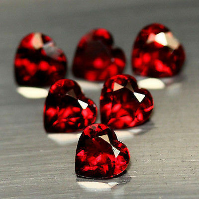 Gema de GRANATE en TALLA CORAZON de 5.01ct. 6x6mm.  6pz