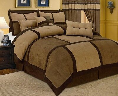 7 Piece Patchwork Brown Micro Suede Comforter Set Cal King Size New
