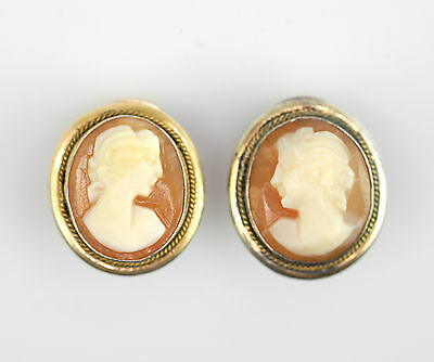 Vintage Italian Gilt 800 silver Carved Shell Cameo Clip On Earrings