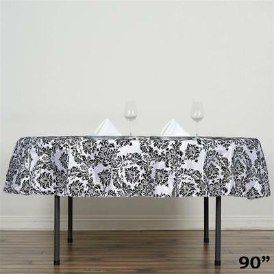 "90"" Black Flocking Damask Tablecloth Wedding Banquet Party Décor"