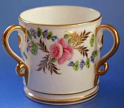 Antique Royal Crown Derby Tyg Cup Hand Painted Flowers Porcelain