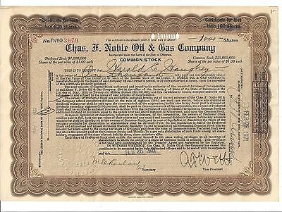 Chas. F. Noble Oil & Gas Company......1921 Stock Certificate