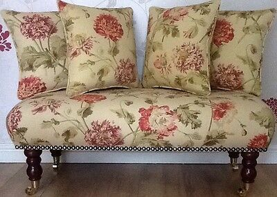 Long Footstool Stool & 4 Cushions Laura Ashley Hepworth Gold Fabric
