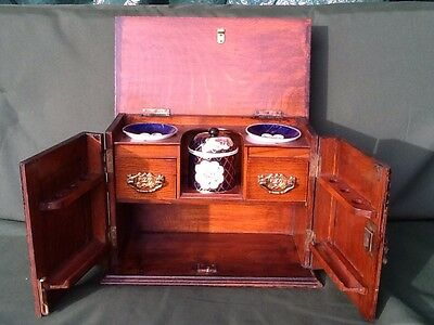 Victorian Pipe Smokers Cabinet With Jar & Bowls