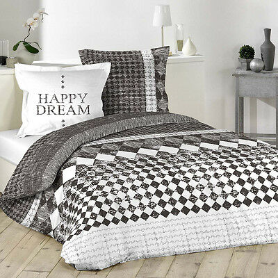 "Housse de couette + 2 taies 220x240cm ""HAPPY DREAM"" 100% Coton 57 Fils"