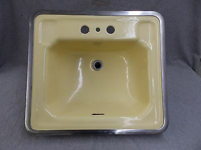 Vtg Mid Century Cast Iron Yellow Porcelain Drop In Sink Retro Bathroom 1932-16