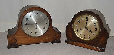 Pair of Vintage Oak Cased Mantle Clocks Spares or Repair with Key