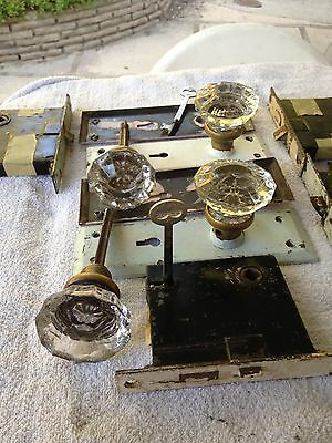 Vintage 12 point glass knobs with hardware plates and skeleton keys
