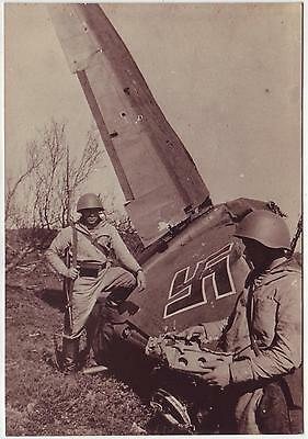 Ussr Wwii Press Photo: Russian Soldiers With Shot Down German Airplane