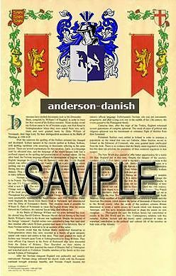 ANDERSON Armorial Name History - Coat of Arms - Family Crest GIFT! 11x17