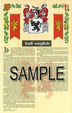 BALL Armorial Name History - Coat of Arms - Family Crest GIFT! 11x17