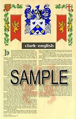 CLARK Armorial Name History - Coat of Arms - Family Crest GIFT! 11x17