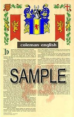 COLEMAN Armorial Name History - Coat of Arms - Family Crest GIFT! 11x17