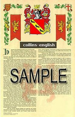 COLLINS Armorial Name History - Coat of Arms - Family Crest GIFT! 11x17