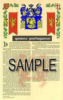 GOMEZ Armorial Name History - Coat of Arms - Family Crest GIFT! 11x17