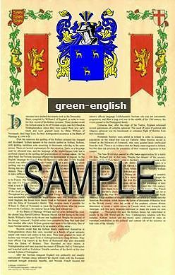 GREEN Armorial Name History - Coat of Arms - Family Crest GIFT! 11x17
