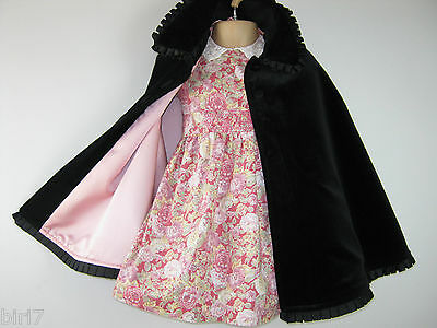 Laura Ashley Vintage Mother&child Label Black Velvet Cloak / Cape, 2-3 Years