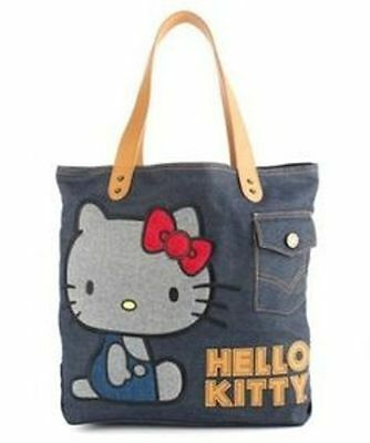 NWT Loungefly Hello Kitty Vintage Blue Denim  Appliqued Tote Bag