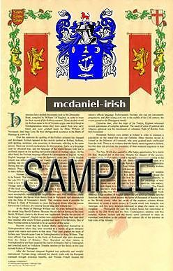 MCDANIEL Armorial Name History - Coat of Arms - Family Crest GIFT! 11x17