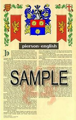 PIERSON Armorial Name History - Coat of Arms - Family Crest GIFT! 11x17