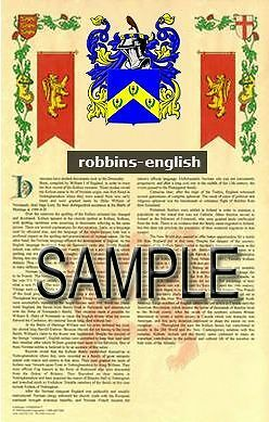 ROBBINS Armorial Name History - Coat of Arms - Family Crest GIFT! 11x17