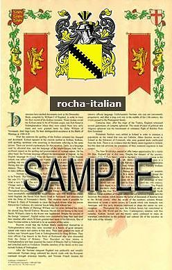 ROCHA Armorial Name History - Coat of Arms - Family Crest GIFT! 11x17