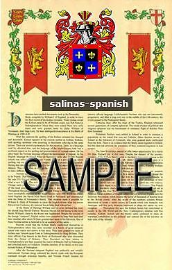 SALINAS Armorial Name History - Coat of Arms - Family Crest GIFT! 11x17