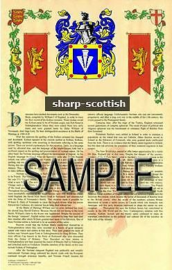 SHARP Armorial Name History - Coat of Arms - Family Crest GIFT! 11x17