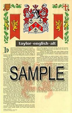 TAYLOR Armorial Name History - Coat of Arms - Family Crest GIFT! 11x17