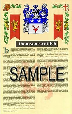 THOMSON Armorial Name History - Coat of Arms - Family Crest GIFT! 11x17