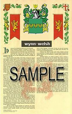 WYNN Armorial Name History - Coat of Arms - Family Crest GIFT! 11x17