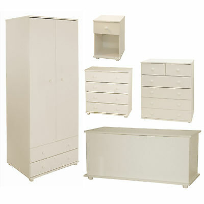 White Chest of Drawers Wardrobe Bedside Table Ottoman Storage Toy Chest Bedroom