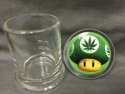 Green Mushroom Image Odorless Air Tight Medical Glass Jar Container