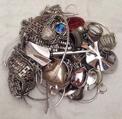 Silver Tone Jewelry 1 LB LOT: Necklaces, Earrings, Etc. Craft Repurpose #15