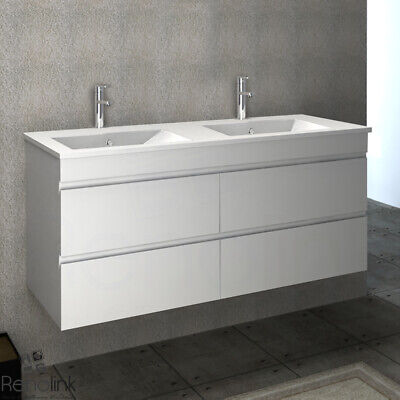 Vellena 1200Mm Bathroom Double Ceramic Basin Wall Hung Vanity Cabinet White