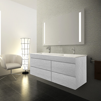 Vellena 1200Mm Bathroom Double Ceramic Basin Wall Hung Vanity Cabinet Wash White