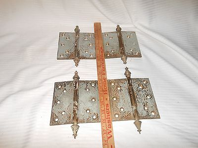 "4 Antique 5""X 5"" Decorative Heavy Brass Hinges - Vintage"