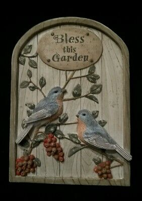 BLESS THIS GARDEN Resin 3D Wall Plaque Sign with Robins Birds