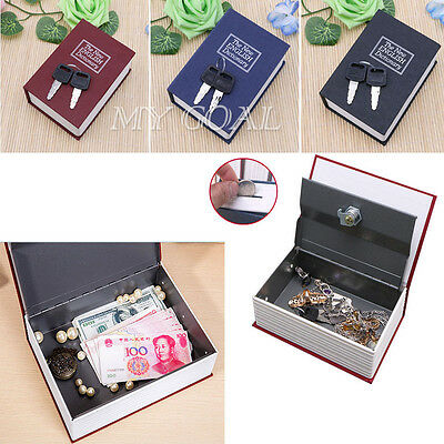 2 Size Home Security Dictionary Book Safe Storage Key Lock Box for Cash Jewelry